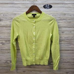 J Crew Merino Wool Lime Green Cardigan